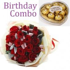 Birthday Package - Rose Bouquet + Ferrero Rocher Chocolate