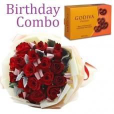Birthday Package - Rose Bouquet + Godiva Milk Chocolate Covered Pretzels